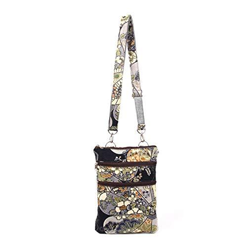 cerniera a colore etnico cotone Borsa a giallo stampato tracolla borsa lino stampa cambiamento tracolla e singola con nw0wvq1IP