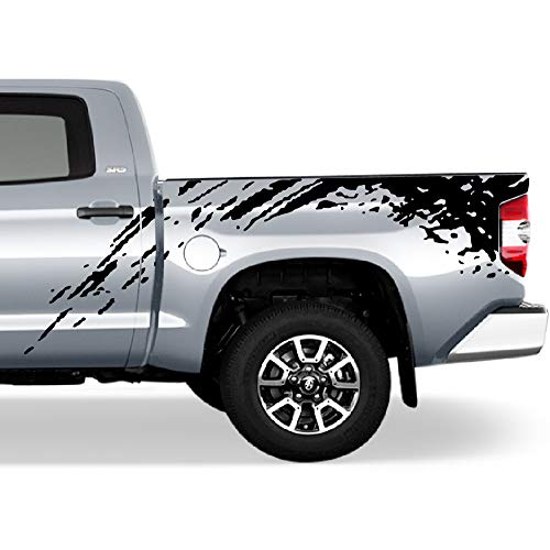 Bubbles Designs Set of Side Bed Splash Mud Decal Sticker Graphic Compatible with Toyota Tundra 2007-2017 (Black)