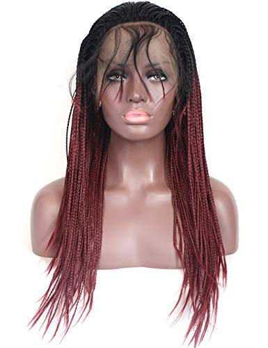 d Micro Braided Lace Front Wigs Dark Roots Burgundy Synthetic Heat Resistant Hair Braiding Styles 2 Tone 1B 99J Lace Wig for Black Women (18 inches, Micro Braided,T1B/Wine Red) ()