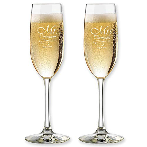 Set of 2, Personalized Wedding Toast Champagne Flutes - Mr. Mrs. Date & Last Name Champagne Wedding Glasses - Customized Flutes for Bride and Groom Gift for Wedding ()