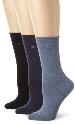 - Calvin Klein Women's 3 Pack Cotton Roll Top Crew Socks