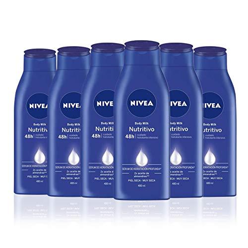 NIVEA Body Milk Nutritivo en pack de 6 (6 x 400 ml), leche corporal para una hidratacion profunda durante 48 h, crema hidratante corporal con aceite de almendras
