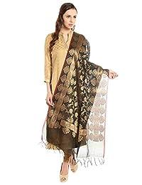 Dupatta Bazaar Women's Benarasi Silk Woven Black & Gold dupatta