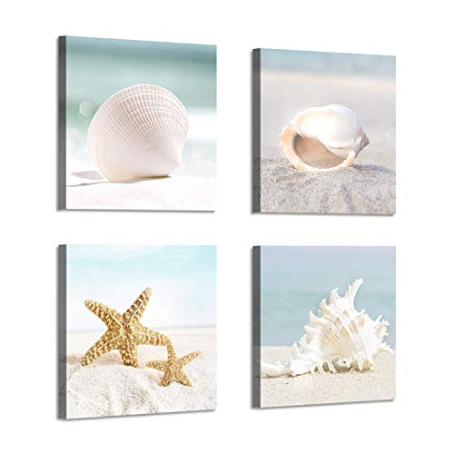 (Starfish & Seashells Canvas Wall Art: Sandy Beach Seaside Graphic Artwork for Bathroom(12''x12''x4pcs) (Renewed))