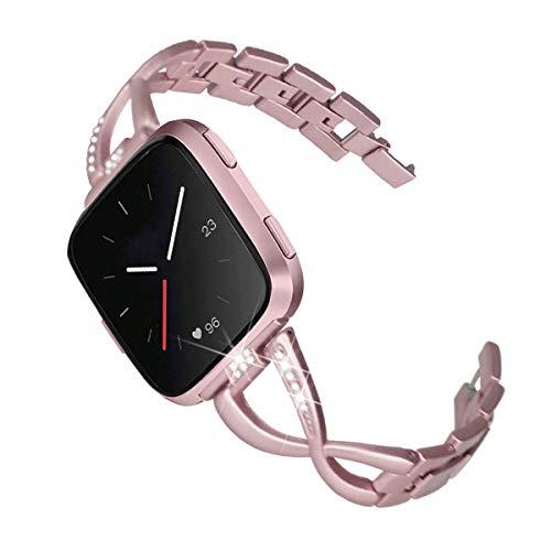 Mtozon Metal Bands Compatible with Fitbit Versa 2/Versa Lite/Versa for Women, Slim Bling Bracelet Rhinestones Breathable…
