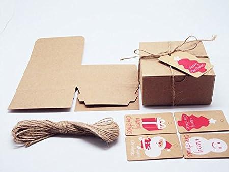 Pack of 10 marrón papel Kraft regalo/cajas de regalo con tapa abatible (10 cm x