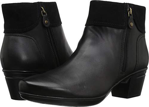 CLARKS Women's Emslie Twist Fashion Boot, Black Leather/Suede Combi, 095 W US