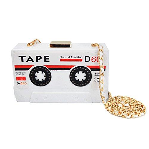 (QZUnique Women's Elegant Tape Shaped Shoulder Bag Vintage Style Clutch Handbag White)