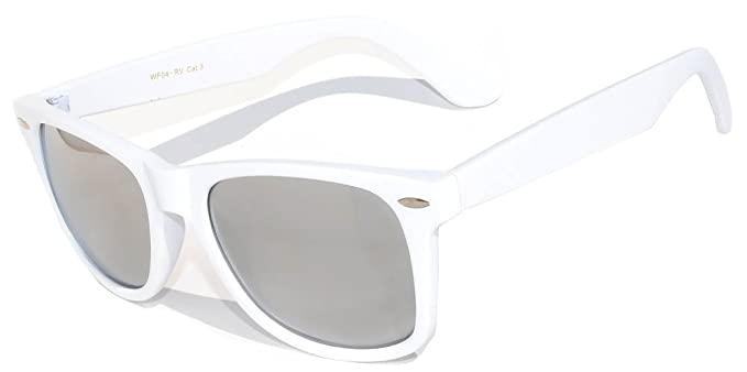 b62be165b Image Unavailable. Image not available for. Color: Vintage Retro Classic  Silver Mirror Reflective Lens Sunglasses White Frame