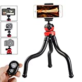 Gurmoir 12' Flexible Tripod for Mobile Phone iPhone 7 Gopro 7 6 5, 3in1 Tripod Stand with Wireless Remote with Cell Phone Holder for iPhone 8 7 6 6s and Android Phone and Gopro DLSR Cameras