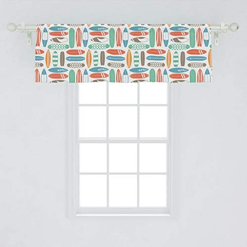 Ambesonne Surfboard Window Valance, Colorful Surfing Sea Pattern with Summer Travel Illustration in Retro Colors, Curtain Valance for Kitchen Bedroom Decor with Rod Pocket, 54 X 18 , Coral Orange
