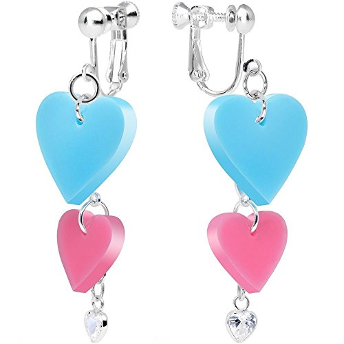 Clear CZ Pink and Turquoise Pretty Triple Heart Clip On (Triple Strand Turquoise Bead)