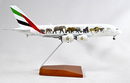 GeminiJets Emirates Airlines Airbus A380-800 Diecast Airplane Model A6-EEQ Wildlife #3 With Stand 1:400 Scale Part# GJUAE1663