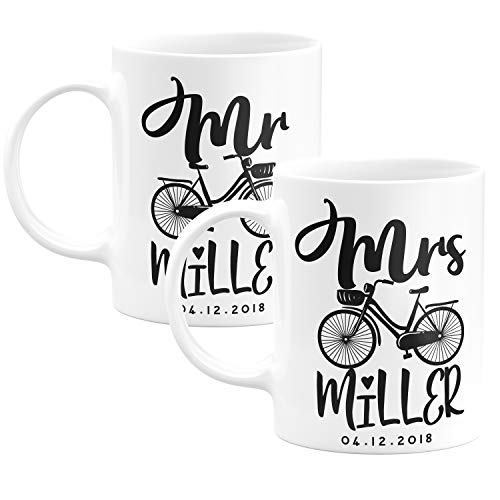 - Mr and Mrs Couple Matching Coffee Mug Gifts with Your Name - 9 Different Designs - Wedding Favors, Christmas Gifts, Bridesmaid Gifts, Birthday Gifts, Hubby Wifey Mugs -Design 3