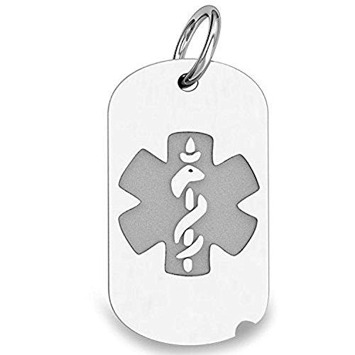 14K White Gold Dog Tag Medical Pendant - 2/3 Inch X 1 Inch WITH (White Gold Dog Tag Pendant)