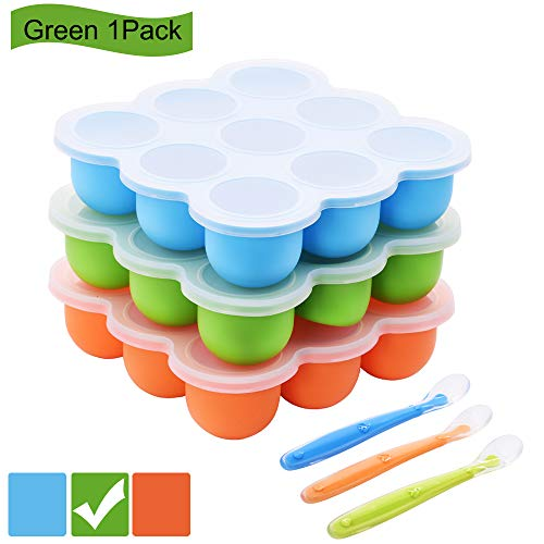 Silicone Baby Food Storage Containers with Clip-On Lids, (9 x 2.5 oz) Reusable Baby Food Freezer Trays with Silicone Spoon, BPA Free and Dishwasher Safe, Easy Pop Out, Perfect for Baby Weaning, Green