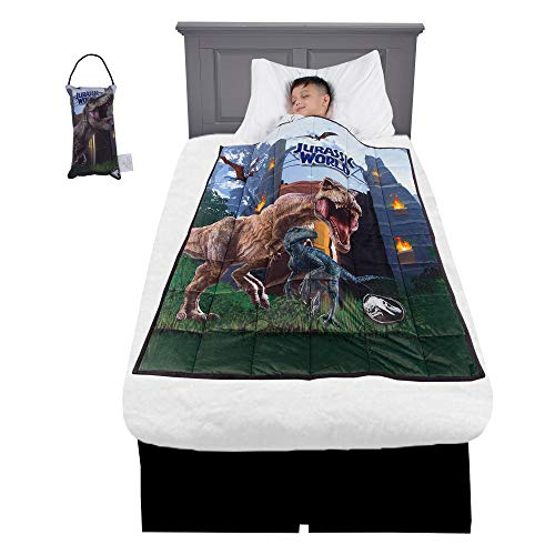 "Franco Bedding Super Soft Plush Kids Weighted Blanket with Bonus Door Knob Pillow, 36"" x 48"" 4.5lbs, Jurassic World"