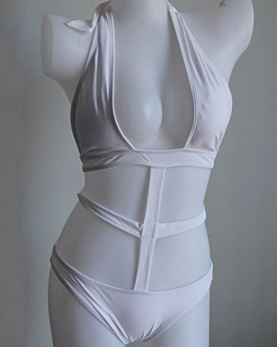 Mujeres Trajes De Una Pieza Vendaje De Bañador Push Up Bikinis Ropa De Baño Blanco
