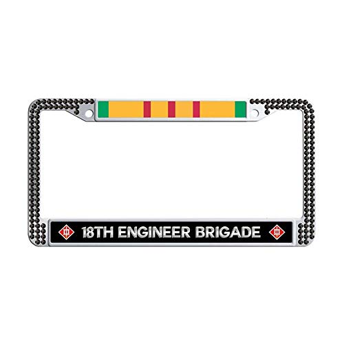 Hensonata U.S. Army 18th Engineer Brigade Vietnam Shining Rhinestones Car tag Frame, Bling Diamond License Plate Holder,Black]()