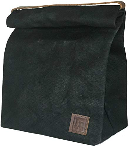 (Lunch Bag (Lunch Box) Large Lined Waxed Canvas Roll Top Tote Bag; Leather Handle and Brass Snap Closure - Black Bag - by In The Bag)