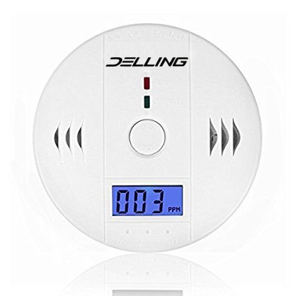 Delling Carbon Monoxide Alarm with Digtal Display More Accurate LCD Security Gas CO Monitor,Alarm Clock Warming,Battery Operated (Battery not Included)