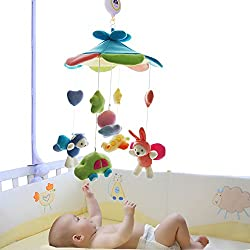 SHILOH Baby Crib Decoration Newborn Gift 60 tunes Plush Musical Mobile (Blue Sky)