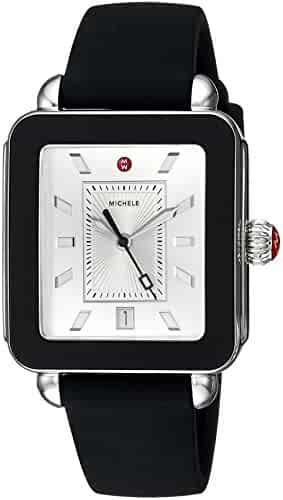 Michele Women's Swiss Quartz Stainless Steel and Rubber Casual Watch, Color:Black (Model: MWW06K000002)