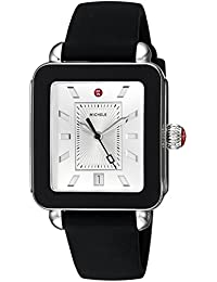 Womens Swiss Quartz Stainless Steel and Rubber Casual Watch, Color:Black (Model: