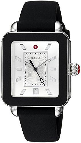 MICHELE Women's Stainless Steel Swiss-Quartz Watch with Rubber Strap, Black, 18 (Model: MWW06K000002)