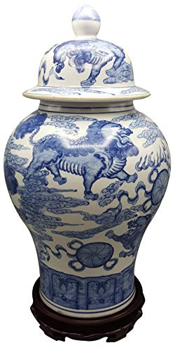 - Oriental Furniture Warehouse Blue and White Temple Jar with Lions and Jewels
