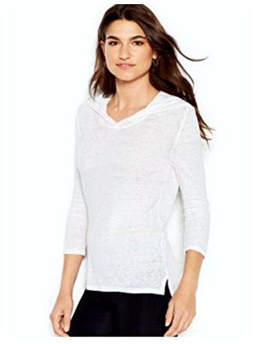 (Lucky Brand Three-quarter-sleeve Scoop-back Burnout Hooded Tee White)