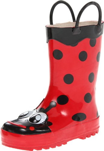 Girls Wellies - Western Chief Kids Girls' Waterproof Easy-On Printed Rain Boot, Lucy The Ladybug, 6 M US Toddler