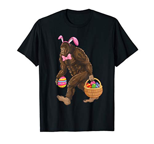 Bigfoot Carring Eggs Easter T-shirt Bigfoot Easter Costume -