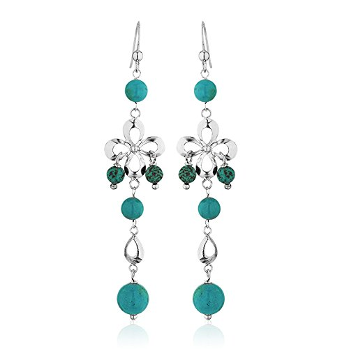 (925 Sterling Silver Infinity Flower Blue Reconstructed Turquoise Gemstone Sphere Long Dangle Earring)