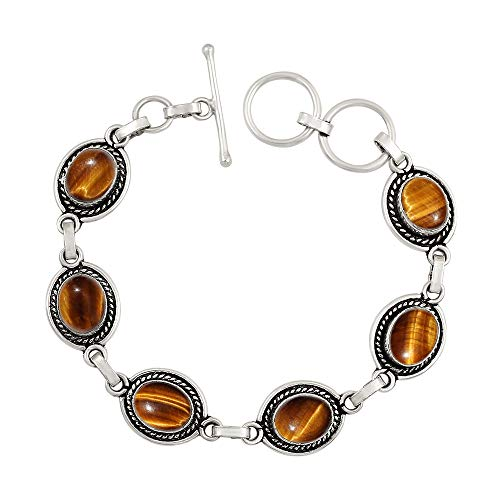Genuine Oval Shape Tiger Eye Link Bracelet 925 Silver Plated Handmade Oxidized Finish Vintage Bohemian Style Jewelry for Women - Silver Tigers Eye Finish