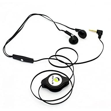 Amazon Com Black Retractable Stereo Headset With Mic For Att