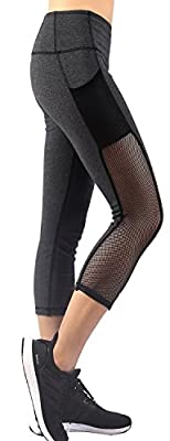 EAST HONG Womens Mesh Capri Workout Yoga Pants Running Tights Active Leggings