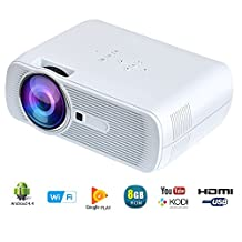 Yuntab WiFi Wireless Portable Video Mini Projector BL80 1200 Lumens LED Home Theater Support PC Laptop TV Box and More with HDMI TV VGA AV USB SD For Home Cinema Theater Child Games (WiFi-White)