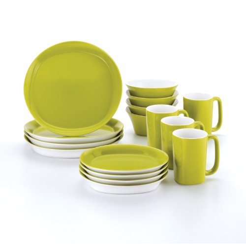 Rachael Ray Dinnerware Round and Square 16-Piece Dinnerware Set, - Ray Green Ray