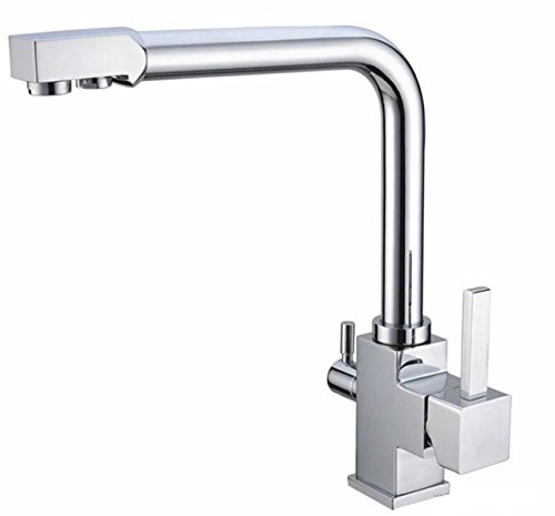 WaterLux WL-306N Brushed Nickel Finish Deluxe 3-Way Kitchen Faucet for Reverse Osmosis System Lead Free