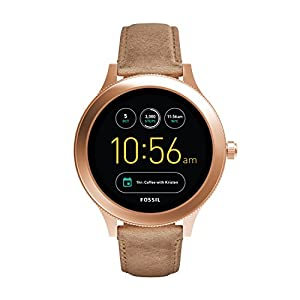 Fossil Q Women Gen 3 Smartwatch | Venture Stainless Steel and Leather Smartwatch, Color: Rose Gold-Tone, Tan (Model: FTW6005)