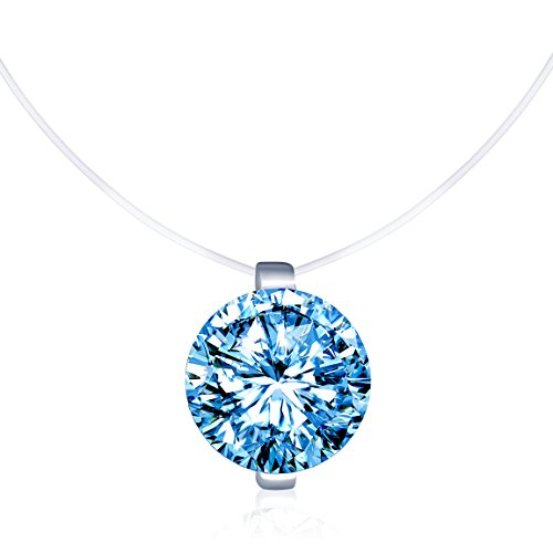 Infinite U Solitaire Pendant 925 Sterling Silver Blue Cubic Zirconia CZ with Transparent Chain Necklace for Women (Blue Cubic Zirconia Pendant)