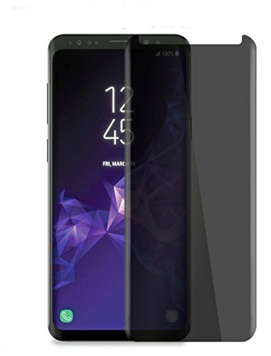 Galaxy S9 Privacy Tempered Glass Screen Protector Anti Scratch , Fingerprint , Bubble Free for Samsung Galaxy S9 [3D Full Curved] [Case Friendly] [.3mm] [100% Touch Sensitivity]