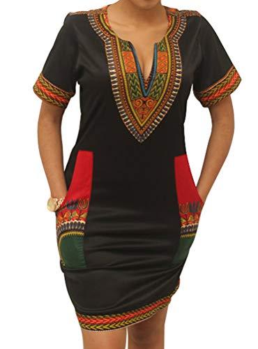 shekiss Women's Bohemian Bodycon Dashiki African Vintage Print V-Neck Club Midi Dress Black/Red (Best African American Halloween Costumes)