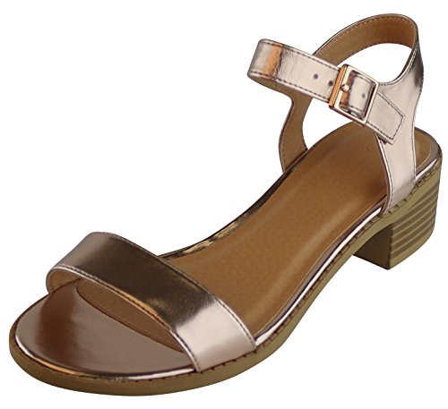 Cambridge Select Womens Ankle Strappy Low Chunky Stacked Block Heel Sandal Rose Gold Pu YhMYDaZa