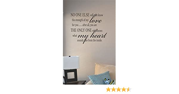 No One Else Will Ever Know The Strength Of My Love Vinyl Decal Wall Sticker Word Home Décor Stickers