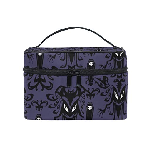 Cosmetic Bags with Gothic Halloween Bat Print - Portable Travel Makeup Organizer Toiletry Train Case for Women Girls]()