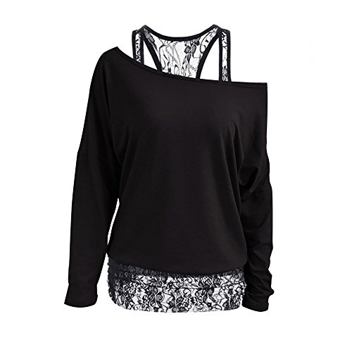Womens Cute Tops Lace Tunic Tops Off The Shoulder Tops Long Sleeve Round Neck
