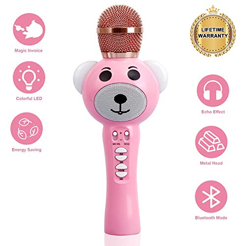Upgraded 2019 Version Kids Karaoke Microphone with Bluetooth, Magic Voice Changer, and Flashing Multicolored LED Lights(Pink) by Garoma (Image #7)
