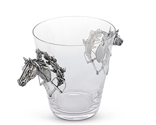 Vagabond House Handblown Glass Ice/Wine Bucket with Pewter Horse Head Handles, 11'' Tall by Vagabond House (Image #1)